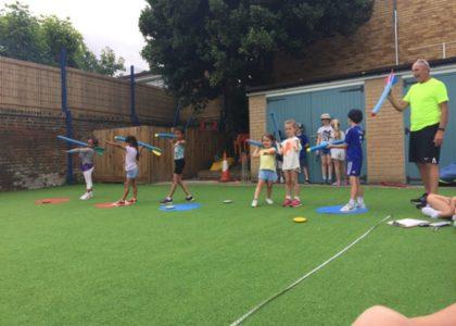 Macca's Sports Camp - Practising Javelin Throwing